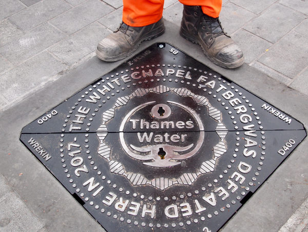 Whitechapel Fatberg Manhole Cover in London, England